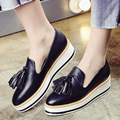 2016 Autumn Women's Platform Loafers Fringe Brand Designer Leather Brogues Shoes for Women Leisure Espadrilles Female Footwear