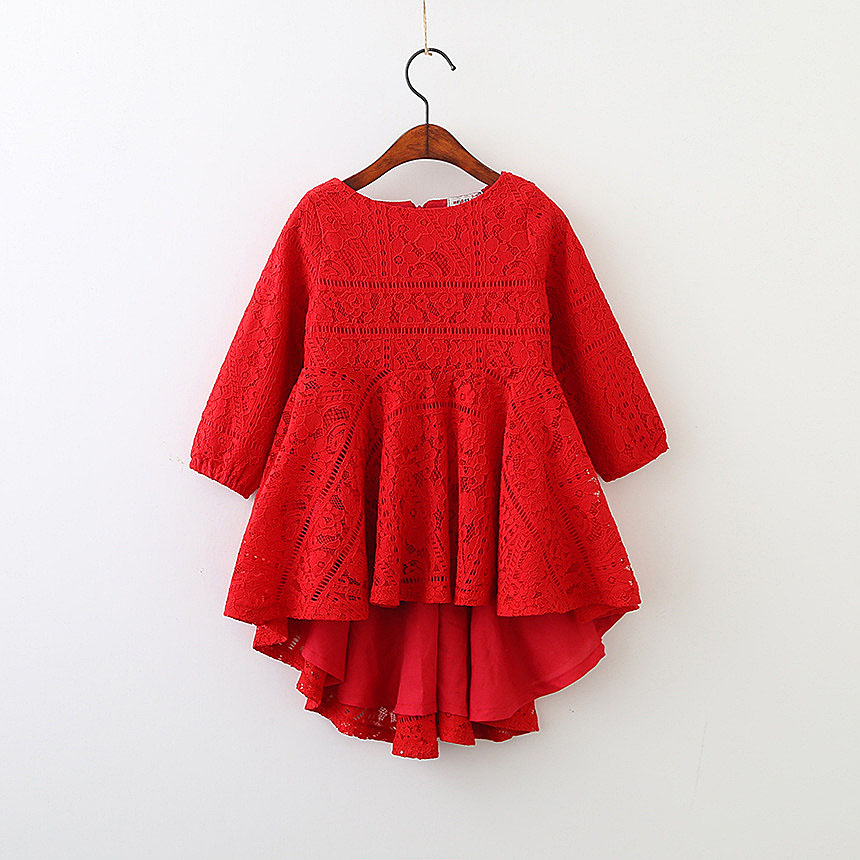 5250 Red Lace Long Sleeve Princess Party A-line Kid Dresses For Baby Girls 2018 Spring Children Clothing wholesale kids Clothes girls europe and the united states children s wear red princess long sleeve princess dress child kids clothing red bow lace