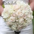 2017 Luxuoso Buquê de Casamento Artesanal de Noiva Segurando Flores Artificiais Rose Buque de Noiva Perolas Custom Made