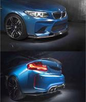 Carbon Fiber CAR FRONT LIP BUMPER + SPOILER+REAR TRUNK DIFFUSER +SIDE SPLITTERS COVER FOR BMW M2 F87 2016 2017 MTC STYLE