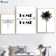 Coconut Tree Dragonfly Wall Art Canvas Painting Nordic Posters And Prints Black White Decoration Pictures For Living Room Decor(China)