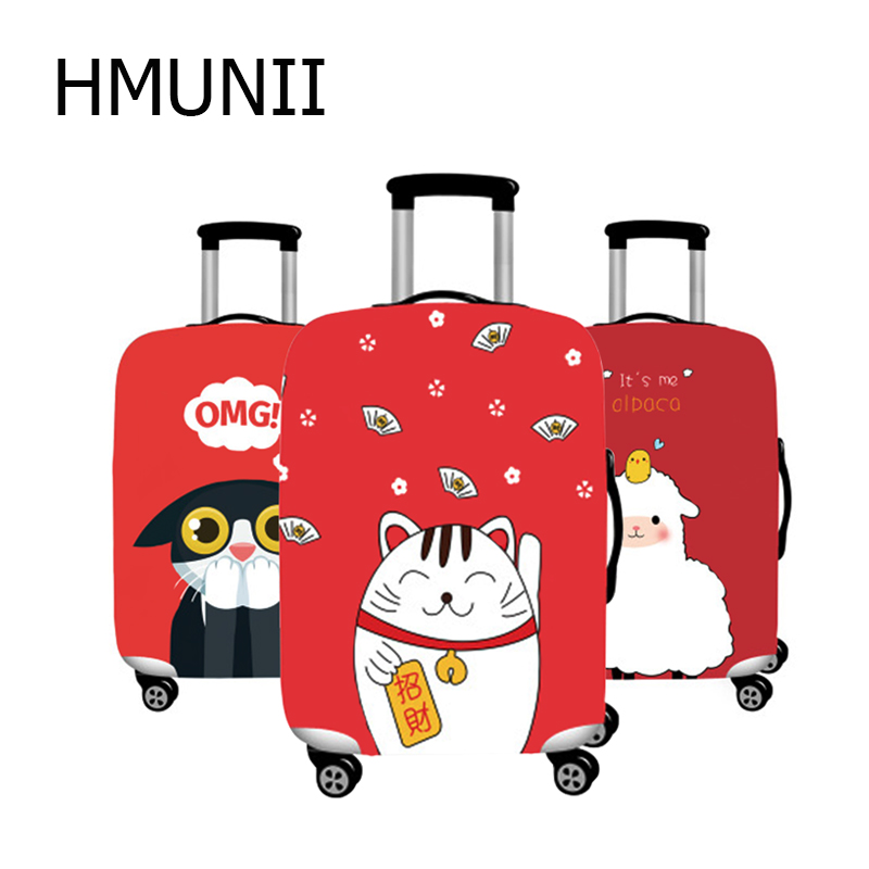 HMUNII Lucky Cat Travel Luggage Cover For 18-32 Inch Suitcase Protective Cover Case Luggage Bag Dust Cover Travel Accessories