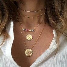 Wunderschöne stunning luxus frauen multi schicht kette gold farbe münze geometrische halsband aussage mode kragen halsketten