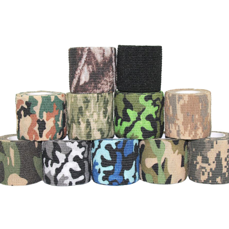 Self-adhesive Telescopic Camouflage Tape Outdoor Bionic Non-woven Jungle Camouflage Tape Hunting Riding Washi Masking Tape 1pcs
