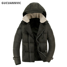 Casual winter jacket men solid hooded warm cotton mens parkas thick velvet pocket decoration windproof winter coat simple