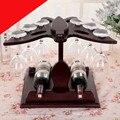 Estilo europeo de madera maciza vino marco adornos creativos de alta botella de Vino taza de vino estante de la barra de pie al revés