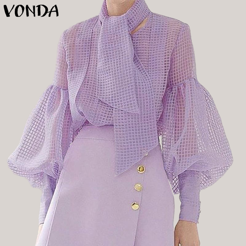 2019 Autumn Summer Women Blouse Hollow Lantern Sleeve Evening Party Blusas Elegant Tops Shirts With Scarf Tunic Plus Size VONDA