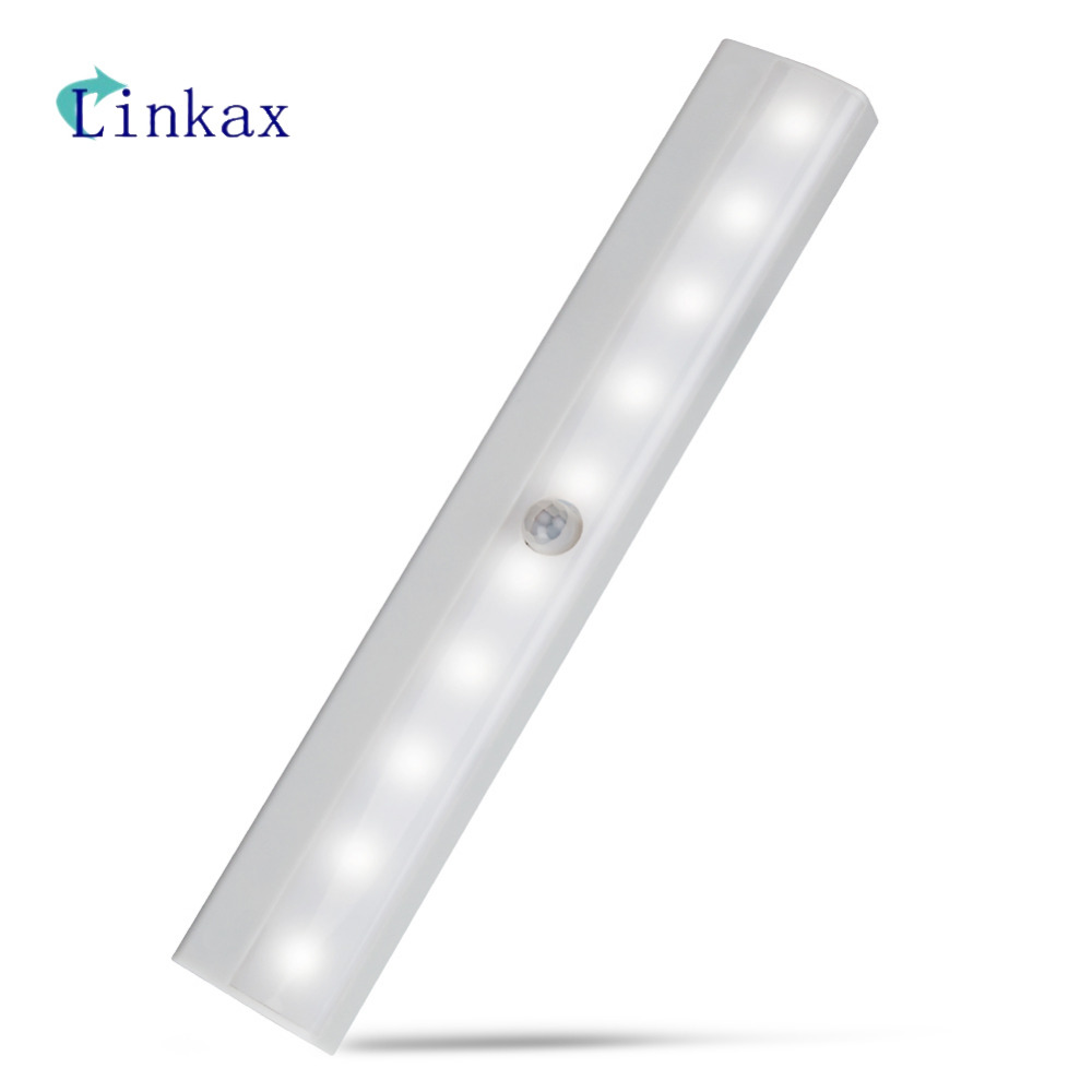High Bright 10 LED IR Infrared Motion Detector Wireless Sensor Lighting Closet Night Lamp Cabinet Wardrobe Night Light
