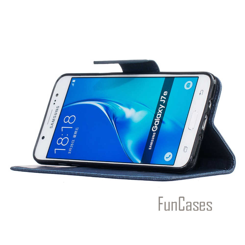 Embossed Flip Case for fundas Samsung Galaxy J7 2016 Cover Case J7 2016  J710 J710F for coque Samsung J7 2016 Case + Card Holder