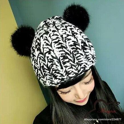 1607224c504 Brand Men s Knit Winter Hat Caps Winter Hats For Women Real Fur Pom Pom  Beanie Skullies