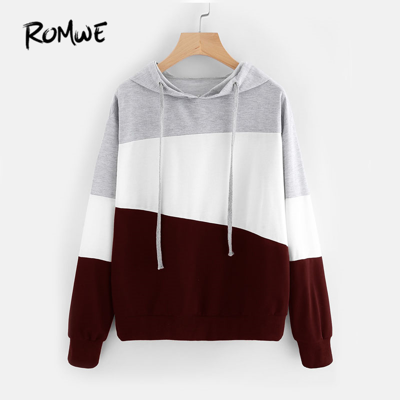 ROMWE Color Block Pink Cut And Sew Hoodie Woman Long Sleeve Hooded Sweatshirt 2018 Multicolor Autumn Seam Drawstring Hoodies