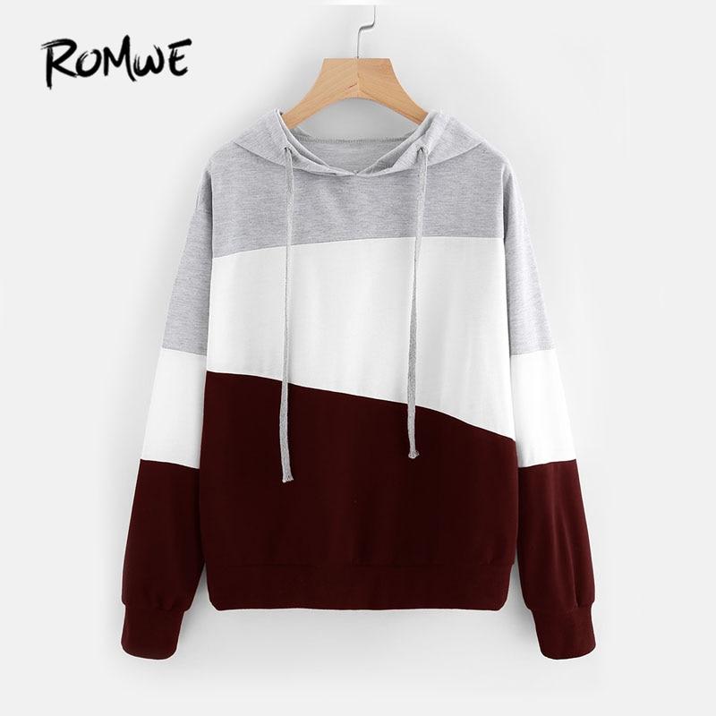 ROMWE Farbe Block Casual Hoodie Frau Lange Hülse Mit Kapuze Sweatshirt 2018 Multicolor Herbst Naht Kordelzug Hoodies