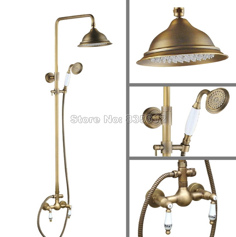 Antique Brass 8.2 inch Shower Head Bathroom Wall Mounted Hand Spray Rain Shower Faucet Set Dual Handles Mixer Tap Wan106