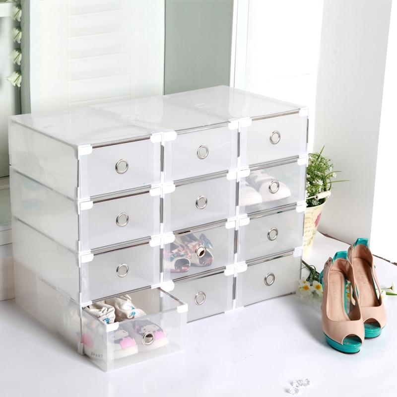 boites rangement chaussures transparentes tiroir boite de rangement pour chaussures pliable et empil. Black Bedroom Furniture Sets. Home Design Ideas