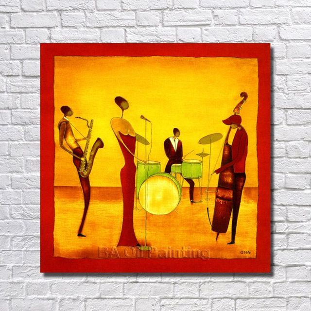 Free Shipping Handpainted Abstract Jazz Band Oil Painting On Canvas ...