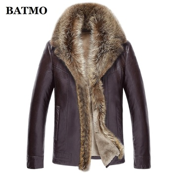 BATMO 2020 new arrival winter high quality real leather raccoon fur collars trench coat men ,men's winter Wool Liner parkas AL17