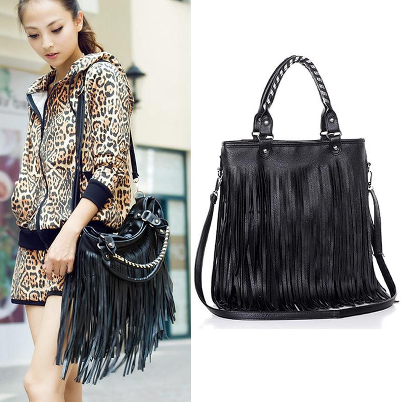2015 Punk Double Side Tassel Bag Fringe Lady PU Leather Black Handbag  Shoulder Bag Purse Drop Shipping 1315 512983c75a530