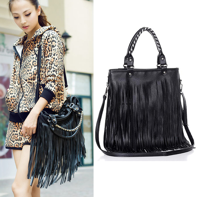 2017 Punk Double Side Tassel Bag Fringe Lady Pu Leather Black Handbag Shoulder Purse Drop