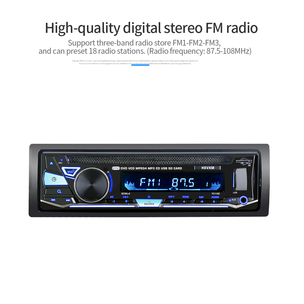Car DVD Video-Player Autoradio Audio Remote-Control Stereo Univeral Kkmoon 1 12V MP3