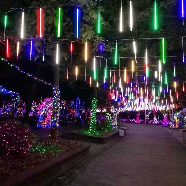 Led Christmas Lights Color.Us 2 56 30 Off Multi Color Meteor Shower Rain Tubes Ac110 240v Led Christmas Lights Wedding Party Garden Xmas String Light Outdoor In Pendant Lights