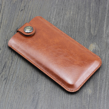 NOTE9 Universal Fillet holster Phone Straight leather case Retro buckle style For Samsung Note 9 8 pouch