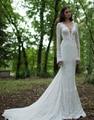 2015 New White Ivory Vestido De Noiva V-Neck Backless Bridal Gowns Court Train Lace Mermaid Long Sleeve Wedding Dresses W1090