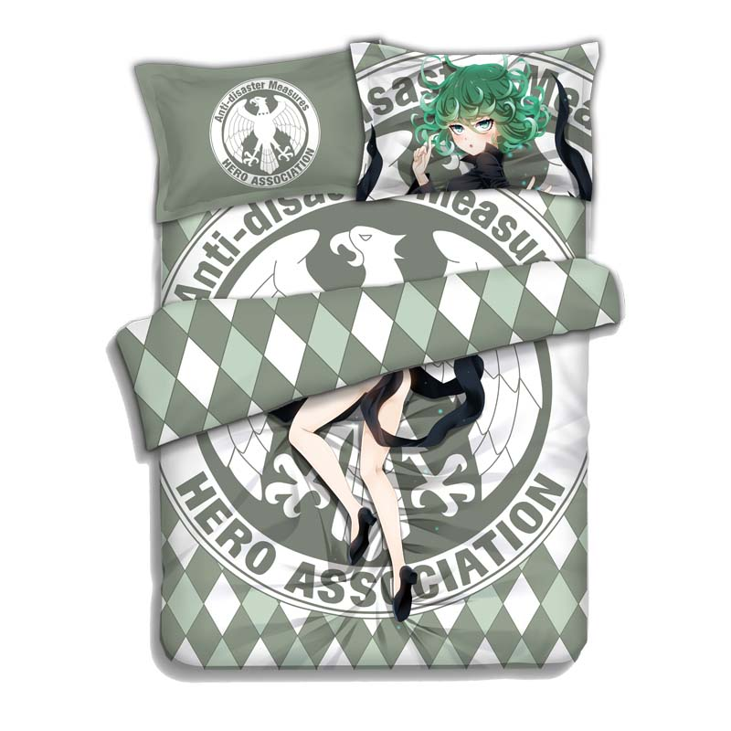 Japan Anime ONE PUNCH MAN Tatsumaki 4pcs Bed Linen Bed Sheets Duvet Cover Set
