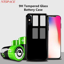 Portable Power Bank Charging Cover For iPhone 7 8 6s Battery Charger Case External Tempered Glass Case For iPhone 8 7 6 6s Plus
