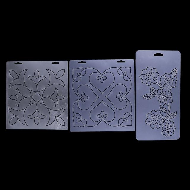 3pcs semi transparent stencil plastic quilting template quilt patchwork tool