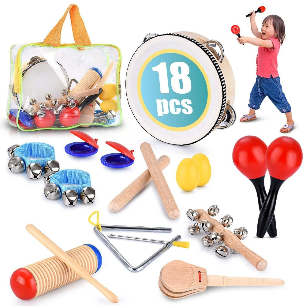 1 Set Orff Toys Musical Instrument Teaching Children's Kids Puzzle Percussion Tambourine Band Maracas Castanets Handbells