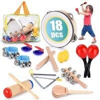 1 Set Orff Toys Musical Instrument Teaching Children's Kids Puzzle Percussion Tambourine Band Maracas Castanets Handbells
