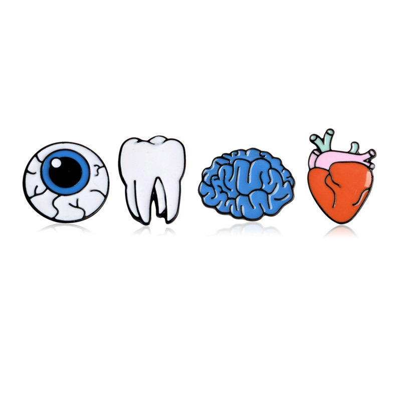 4 Styles Fashion Cartoon Organ Brooch Eyes Hearts Teeth Brain Metal Enamel Pin Clothes Backpack Badge Trendy Jewelry Health Gift