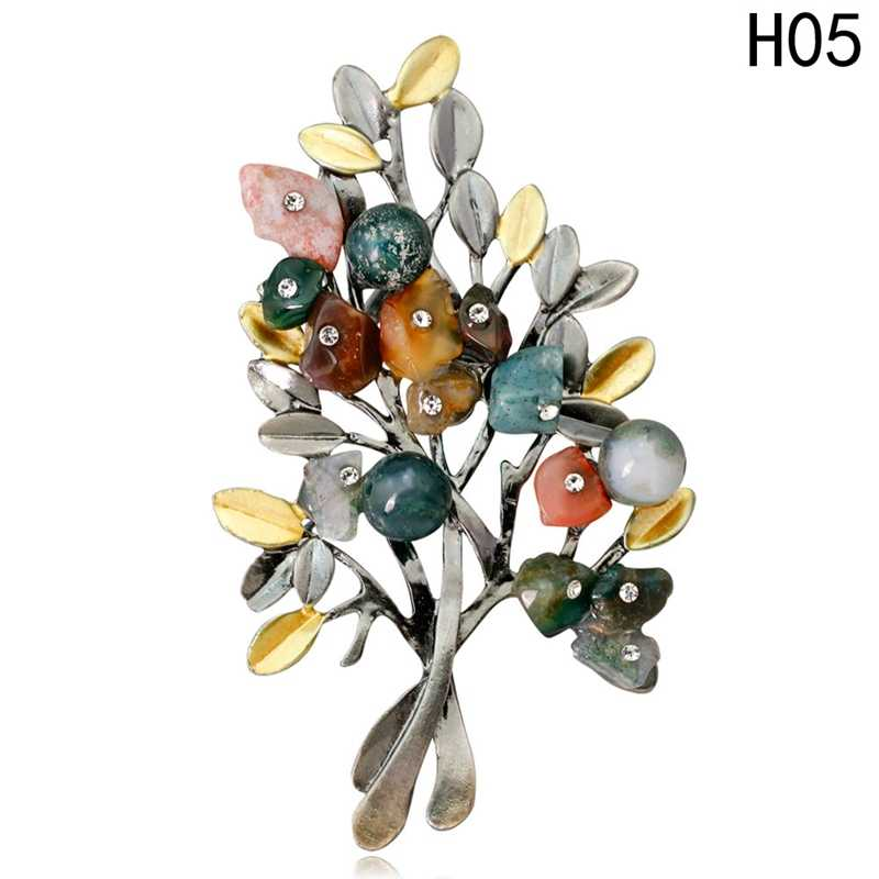 Fashion flower brooches jewelry natural stone retro tree brooch for woman pins buckle wedding party bouquet vintage