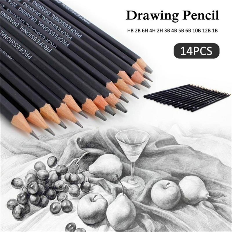 14pcs School Art Writing Supply Sketch And Drawing Pencil Lapis Set HB 2B 6H 4H 2H 3B 4B 5B 6B 10B 12B 1B Student Art Supplies