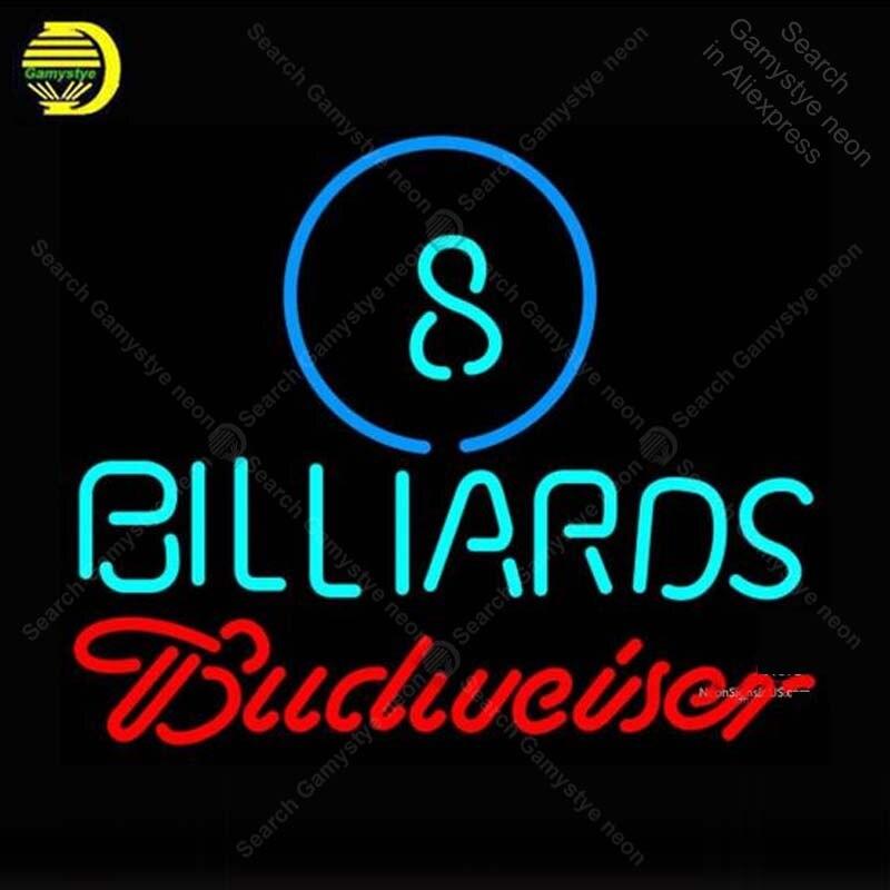 Neon Sign for Budweiser Neon Ball Billiard Neon Bulb sign Beer Bar Pub Restaurant handcraft glass tube windows light Decor lamps|Neon Bulbs & Tubes| |  - title=