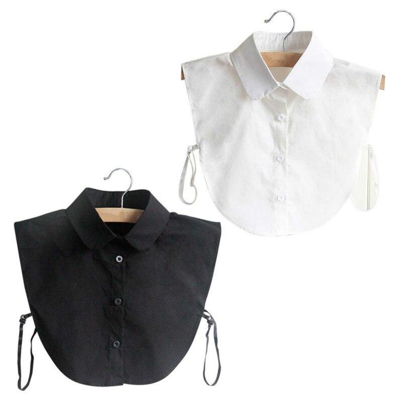 Mode Pop Kraag Vintage Elegante Vrouwen Fake Half Shirt Afneembare Blouse Zwart Wit Kleuren
