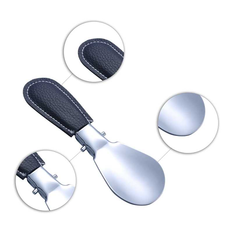 FUNIQUE Bequem Edelstahl Hochglanz Durable Leder Griff Löffel Metall Schuhlöffel Schuh Heber Werkzeug 12,2 cm x 3,7 cm