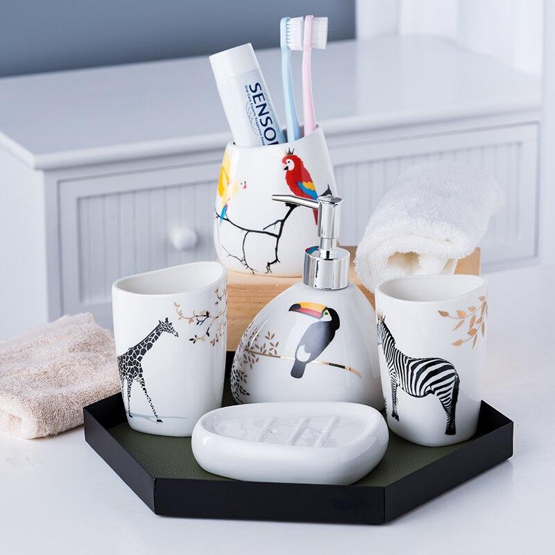 5 pièces/ensemble ensemble de salle de bain en céramique accessoires de bain comprend boîte à savon gargarisme tasse porte-brosse à dents distributeur de savon ensemble de porte-savon - 5