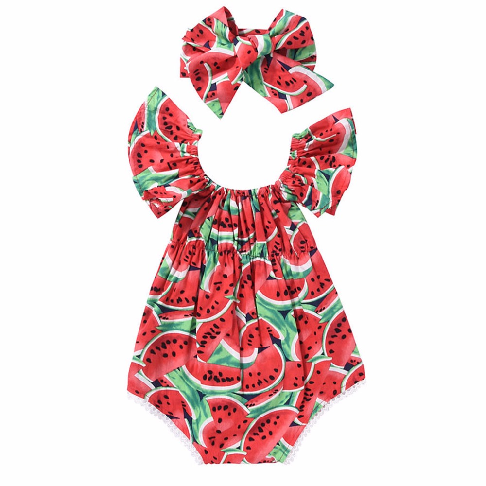 2018 Cute Newborn Kids Baby Girl Clothes Short Flare Sleeve Watermelon Print Bodysuit Headband 2Pcs Set Summer Clothing Outfits 3pcs set cute newborn baby girl clothes 2017 worth the wait baby bodysuit romper ruffles tutu skirted shorts headband outfits