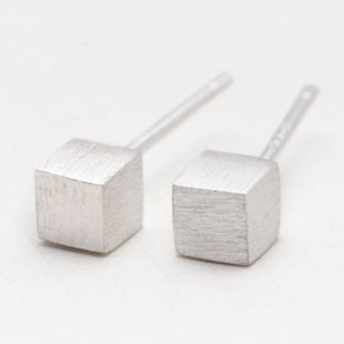 925 Sterling Silver Jewelry Silver Cube Earrings For Women Statement Earrings Pendientes Brincos Bijoux Women