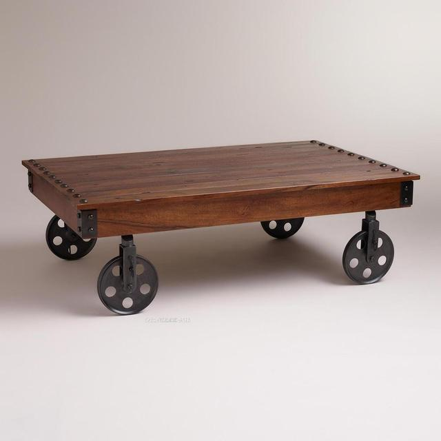 Rivet Iron Wheels And Large Wood Coffee Table Old Fashioned Tub Pine Production