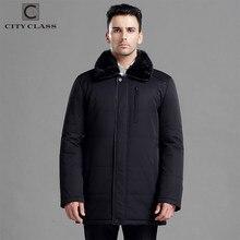 ebf4195fdc4 CITY CLASS зимняя куртка мужская новый толстая теплая зима куртки мужский  пальто мода длинные верблюжья шерсть