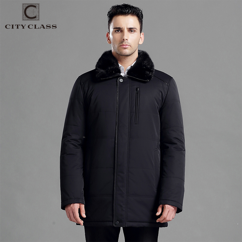 CITY CLASS New thick warm winter jacket men overcoat 3M cotton fashion long thinsulate removable mink collar free shipping 15918