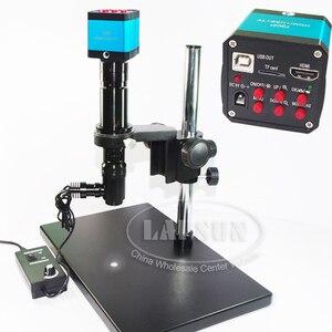 400X инспекционный зум монокулярный коаксиальный светильник набор с-креплением объектива + 14MP HDMI USB промышленный микроскоп камера стерео под...