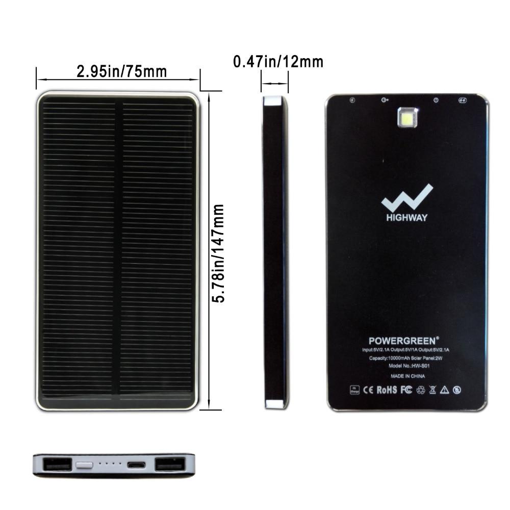 PowerGreen Slim Power Bank 10000mAh Baterai Eksternal Solar Charger - Aksesori dan suku cadang ponsel - Foto 2