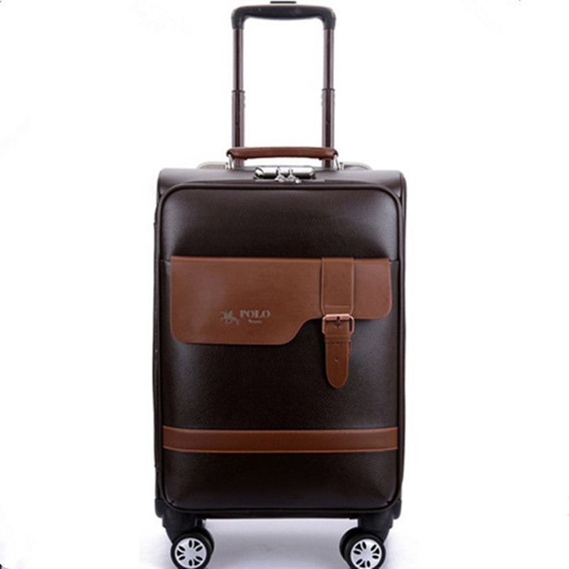 BOLO BRAVE 2024inch Business Boarding Luggage,Retro Universal wheels trolley Case,password lock Suitcase,fashion PU travel bag кожаная накладка pu для sony mt27i xperia sola черный