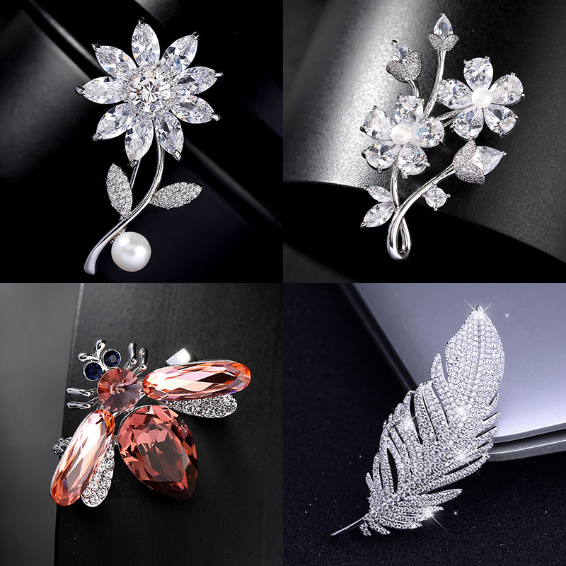 Luxury Big Feather Flower Bee Wheat Swan Brooches Pins Jewelry Rhinestone Cubic Zirconias Brooch For Bouquet Dropshipping