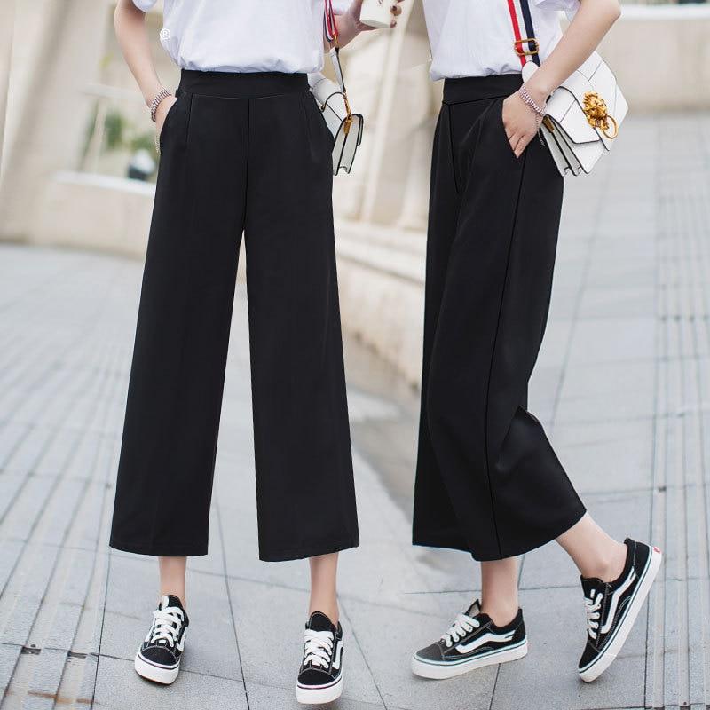 Summer Women Black Ankle-Length Pants Casual Loose Pants Wide Leg Women Chiffon High Elastic Waist Pants Ladies Trousers