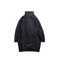 [EAM] 2019  New Fashion Winter Stand Lead Irregular Long Type Cotton-padded Clothes Loose Coat Solid Black Jacket Woman YA771 5
