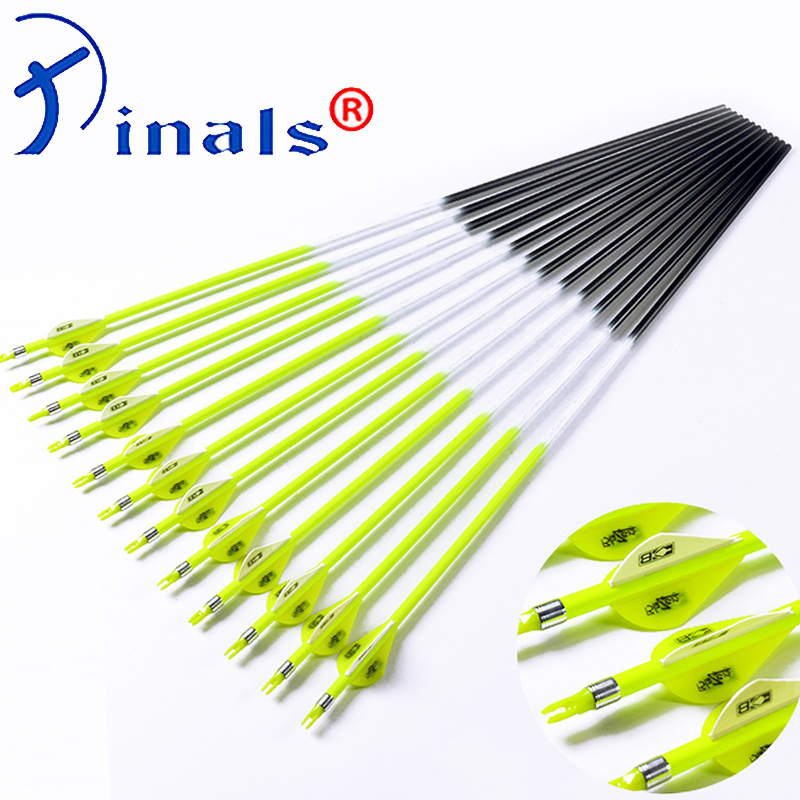 Inals Carbon Arrows Spine 300 340 400 500 600 ID6.2mm Shafts Vanes 100 Grain Points Bright Yellow Compound Recurve Bow Hunting